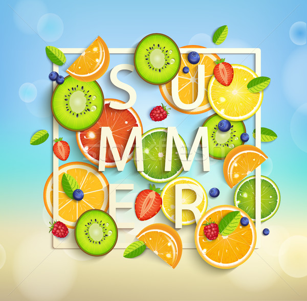 Summer background with fruits and berries. Stock photo © tandaV