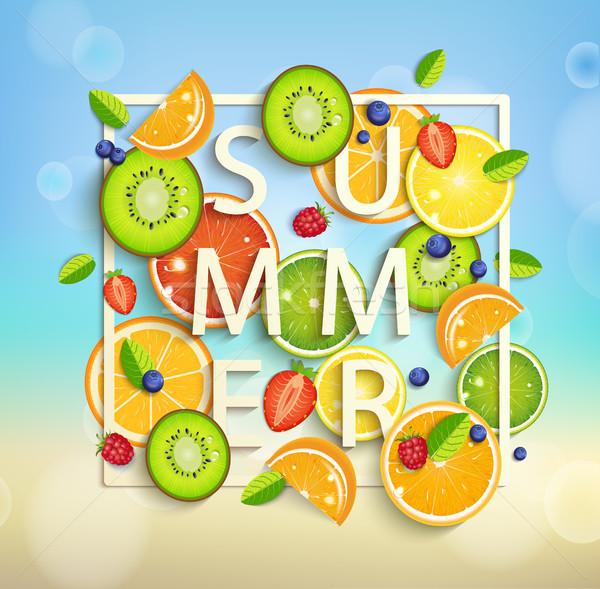 Nyár gyümölcsök bogyók trópusi tér keret Stock fotó © tandaV