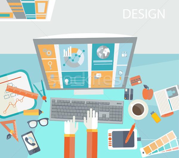 Creative служба workspace современных дизайна вектора Сток-фото © tandaV