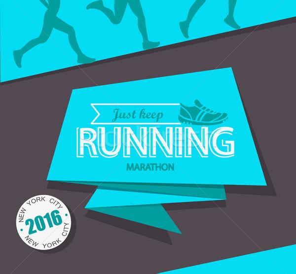 работает марафон бег эмблема Label Знак Сток-фото © tandaV