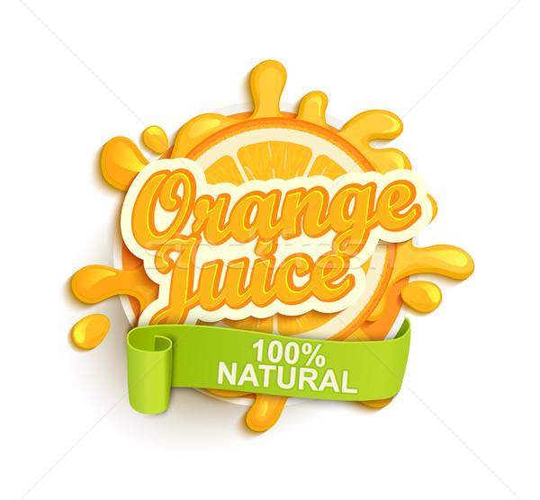 Orange juice natural label splash. Stock photo © tandaV