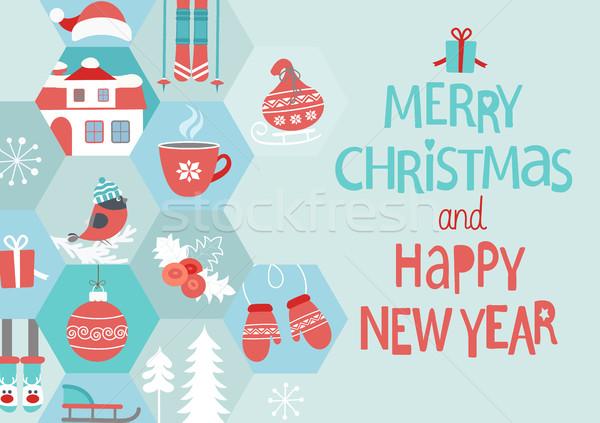 Capodanno Natale biglietto d'auguri abstract allegro buon anno Foto d'archivio © tandaV
