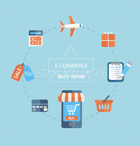Infographic concept of purchasing via internet. Stock photo © tandaV