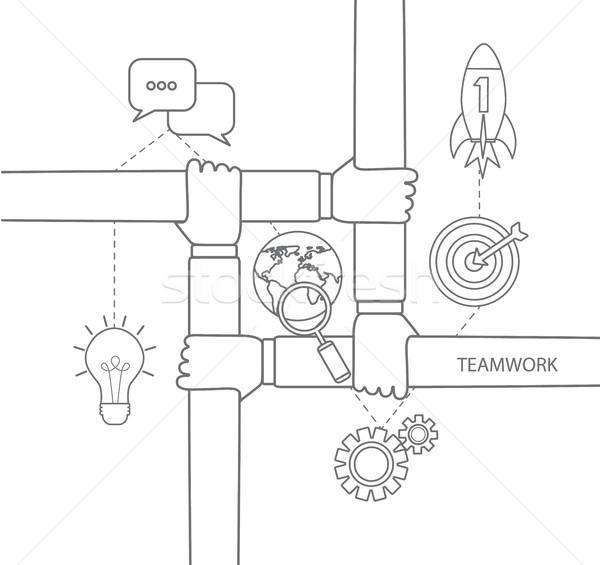 команде линейный простой пиктограммы вектора логотип Сток-фото © tandaV