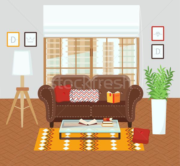 интерьер гостиной современных дизайна иллюстрация цветы Сток-фото © tandaV