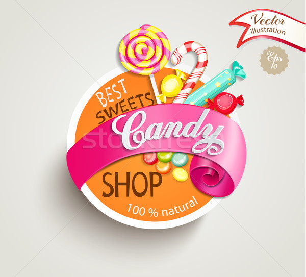 Candy shop label Stock photo © tandaV