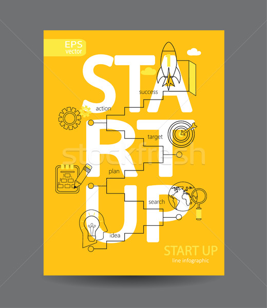 Startup vetor linear estilo sinais Foto stock © tandaV