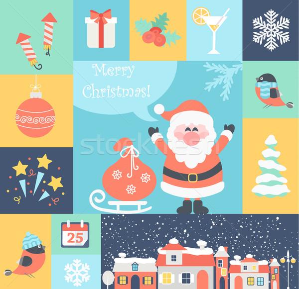 ストックフォト: クリスマス · サンタクロース · 贈り物 · 市 · 幸せ