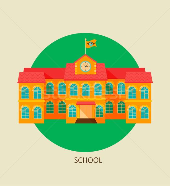 Classical school building icon. Stock photo © tandaV