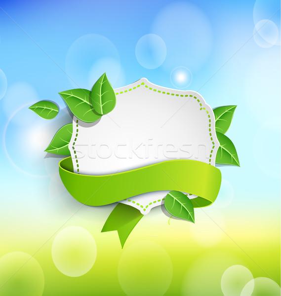 Vintage кадр зеленый лента бумаги листьев Сток-фото © tandaV