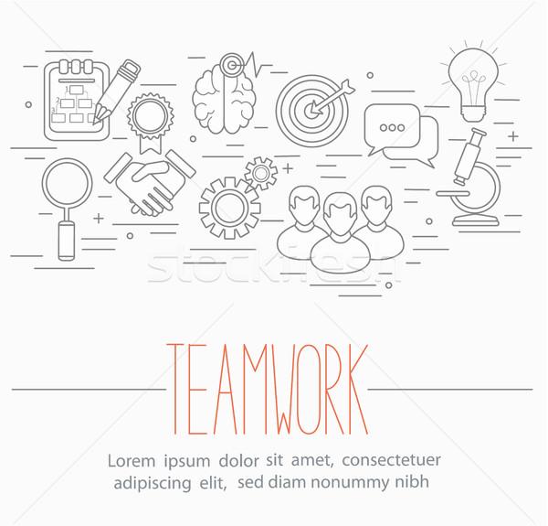 Negócio trabalho em equipe símbolos linha estilo projeto Foto stock © tandaV