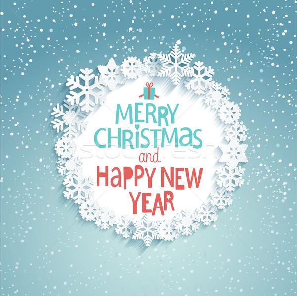 Natal ano novo cartão vetor alegre feliz ano novo Foto stock © tandaV