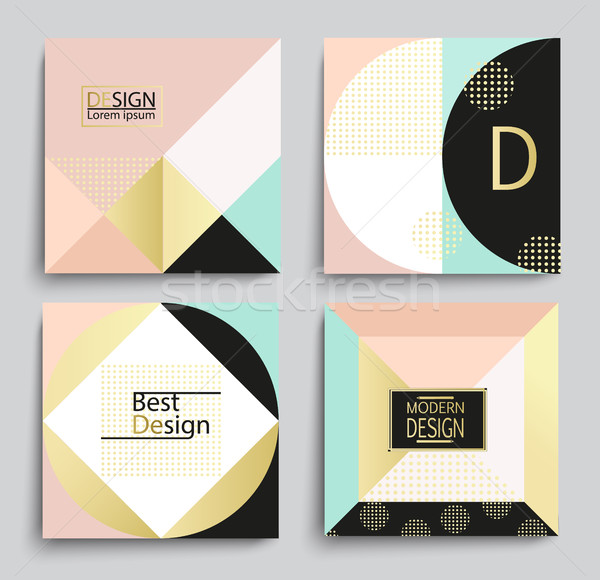 Set of elegant geometric banner template design. Stock photo © tandaV