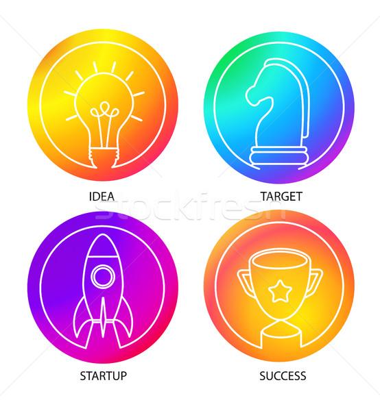 Iş logo ayarlamak renk eğim ikon şablon Stok fotoğraf © tandaV