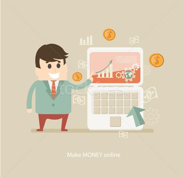 деньги онлайн вектора человека финансовых Сток-фото © tandaV