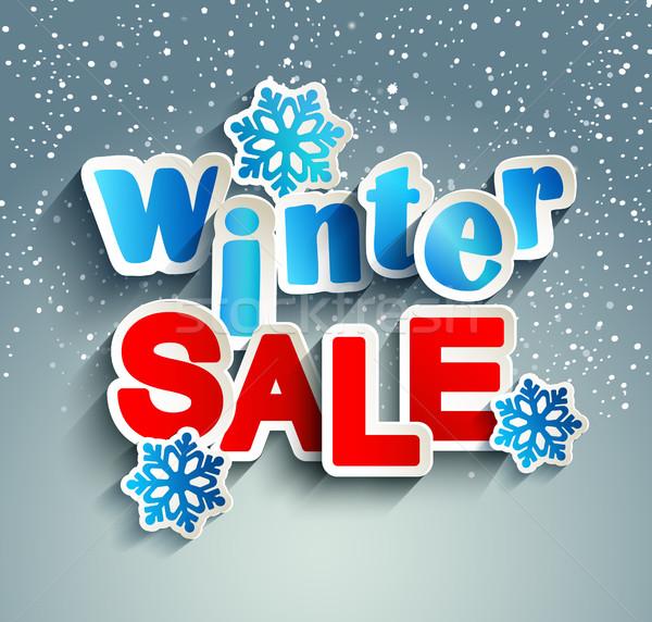 Winter verkoop opschrift sneeuwvlokken papier stijl Stockfoto © tandaV