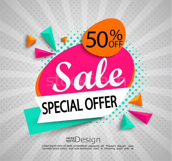 Sale - special offer - bright modern banner. Stock photo © tandaV