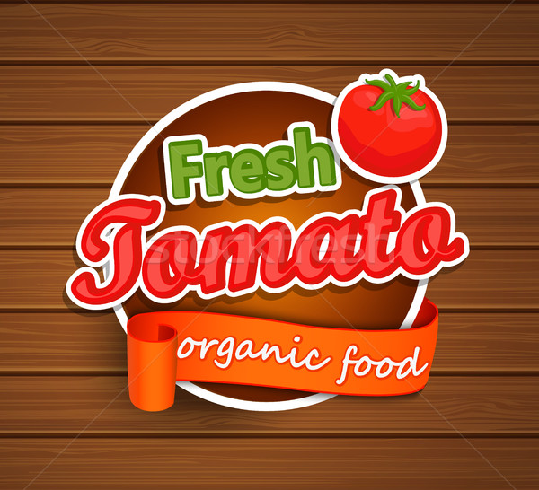 新鮮な トマト 自然食品 ラベル ステッカー リボン ストックフォト © tandaV
