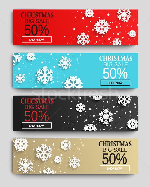 Рождества продажи Баннеры набор аннотация Сток-фото © tandaV