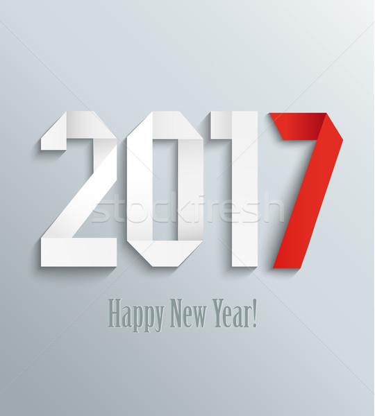 новых год оригами стиль бумаги Сток-фото © tandaV
