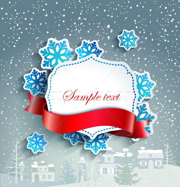 зима Vintage бумаги кадр текста Сток-фото © tandaV