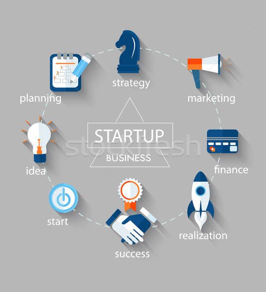 Startup concept, icons. Stock photo © tandaV