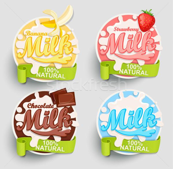 Latte etichette splash cioccolato banana fragola Foto d'archivio © tandaV