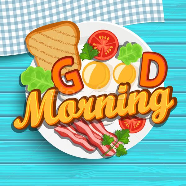 Bom dia vetor café da manhã ovo frito tomates bacon Foto stock © tandaV