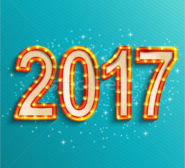 Stock photo: Happy new year 2017 shining retro light.
