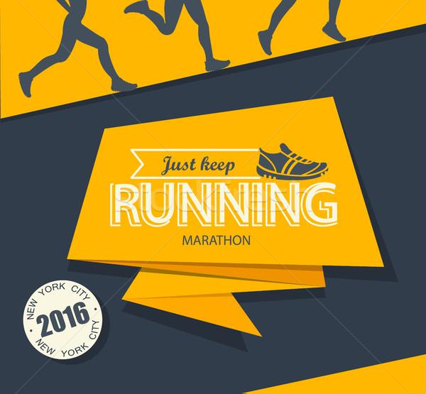Lopen marathon jogging embleem label badge Stockfoto © tandaV