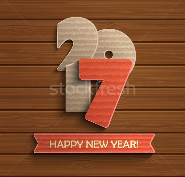 Buon anno design legno creativo vettore carta Foto d'archivio © tandaV