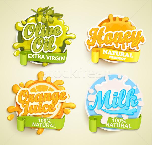 набор Этикетки апельсиновый сок оливкового масла меда извести Сток-фото © tandaV