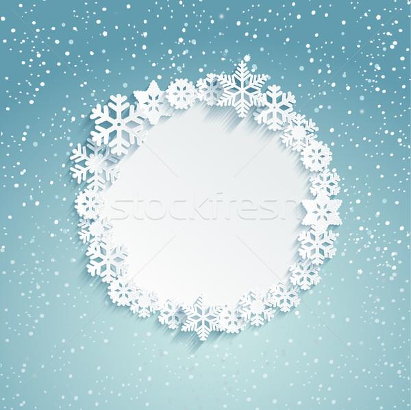 Natal quadro flocos de neve modelo mensagem Foto stock © tandaV