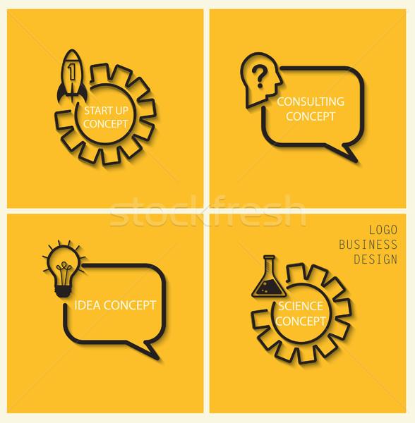 Vector inicio idea consulta conceptos estilo Foto stock © tandaV