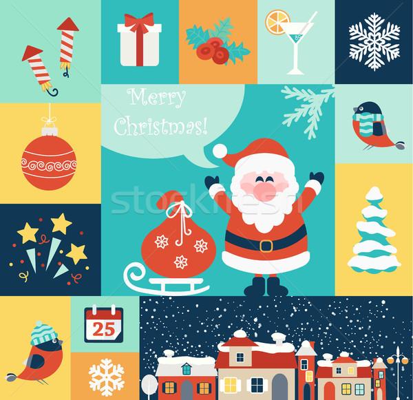 Natal conjunto ano novo ícones eps Foto stock © tandaV