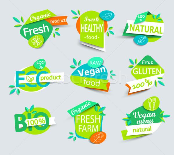 Stock fotó: Vektor · szett · egészséges · bioélelmiszer · címkék · modern