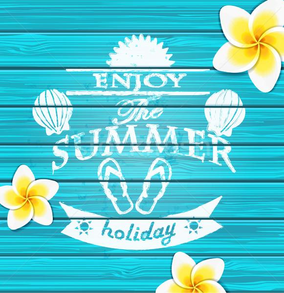 наслаждаться лет синий текста цветок Сток-фото © tandaV
