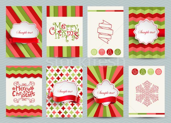 セット クリスマス パンフレット テンプレート 明るい ベクトル ストックフォト © tandaV