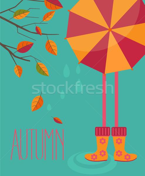 Stile albero ragazza luminoso ombrello Foto d'archivio © tandaV