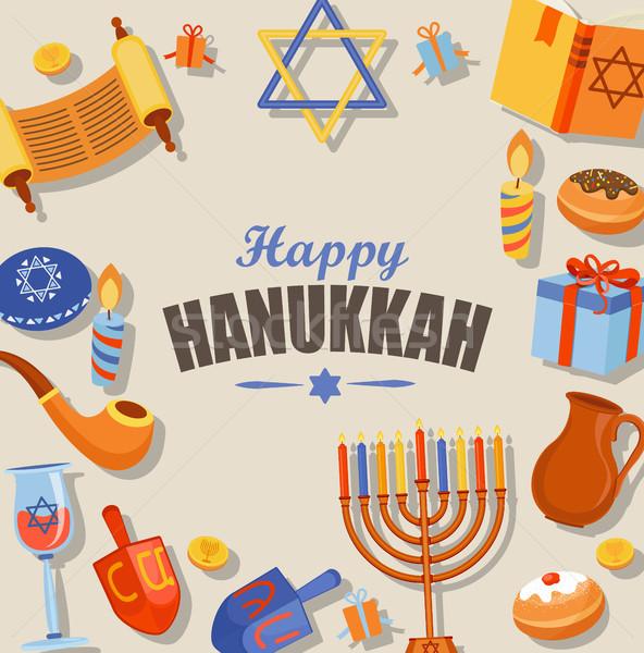Happy Hanukkah typography card template. Stock photo © tandaV