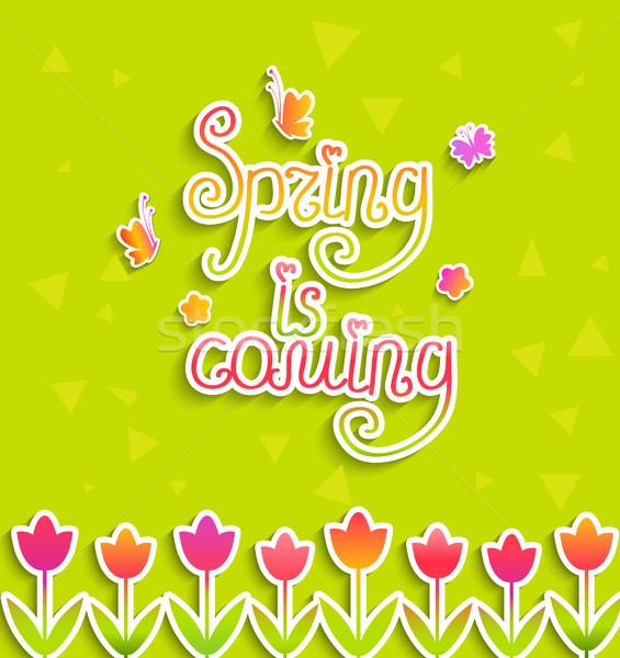 Tavasz vektor felirat tulipánok papír stílus Stock fotó © tandaV