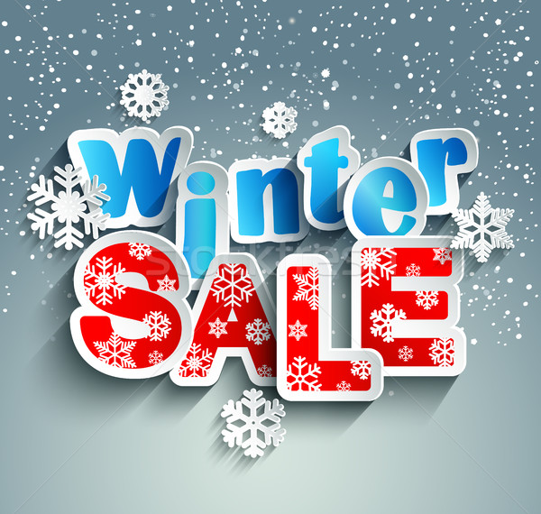 Winter sale inscription with snowflakes. Vector. Stock photo © tandaV