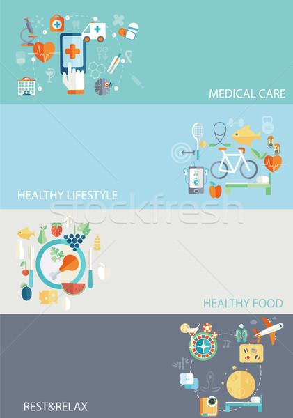жизни набор дизайна иконки веб мобильного телефона Сток-фото © tandaV