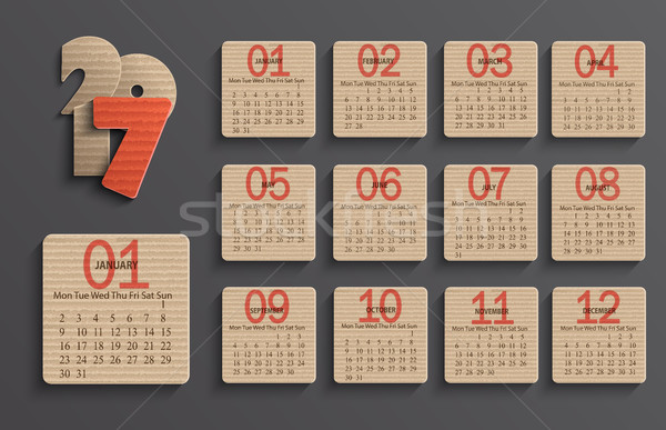 Modern calendar 2017 in a paper official style. Stock photo © tandaV