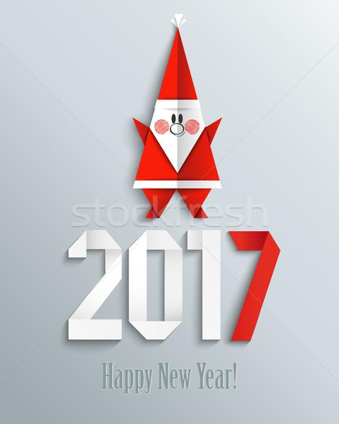 新しい 年 グリーティングカード サンタクロース 折り紙 スタイル ストックフォト © tandaV