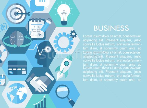 бизнеса иконки фон сеть Финансы маркетинга Сток-фото © tandaV