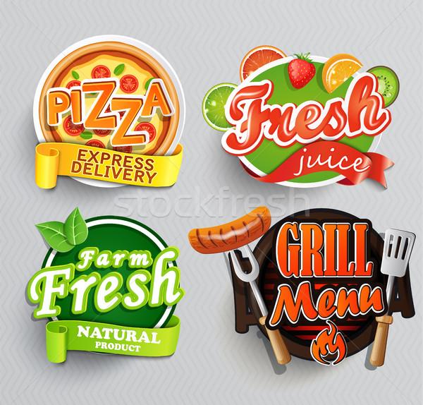 Conjunto adesivos comida fazenda fresco suco Foto stock © tandaV
