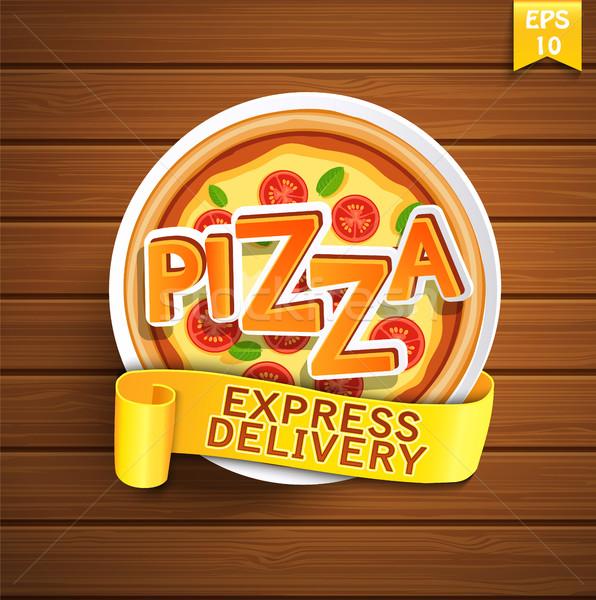 пиццы дизайн шаблона древесины вектора бизнеса текстуры Сток-фото © tandaV