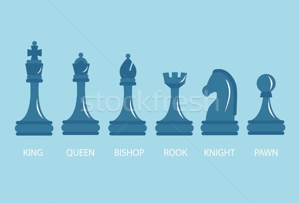 Szett sakkfigurák gyalog lovag királynő király Stock fotó © tandaV