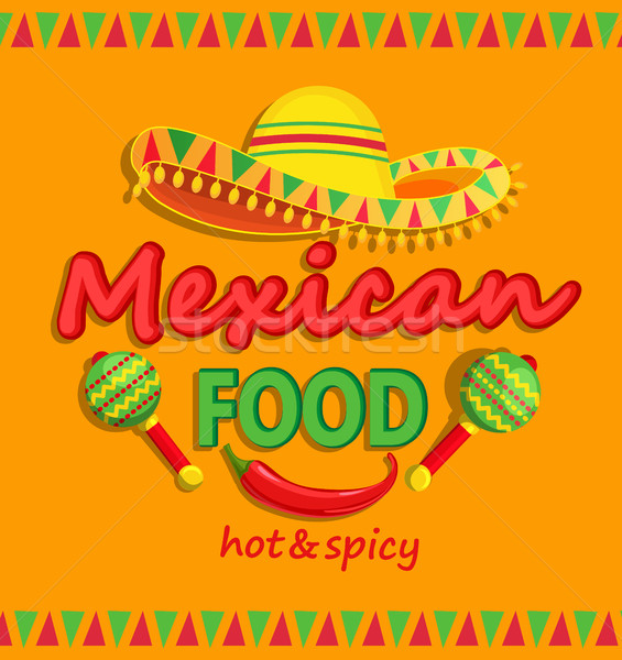 Mexican food flyer with traditional spicy. Stock photo © tandaV
